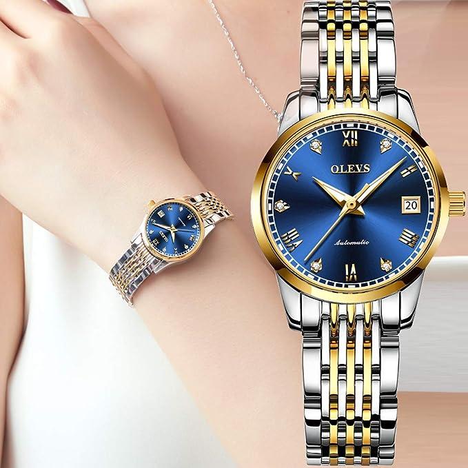 OLEVS Reloj automático para mujer, resistente al agua, acero ...