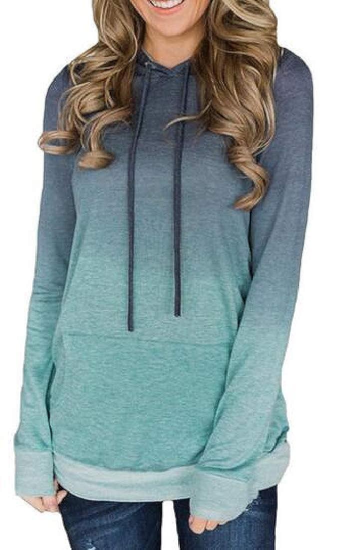 X-Future Womens Long Sleeve Ombre Pocket Drawstring Pullover Hoodies Sweatshirt