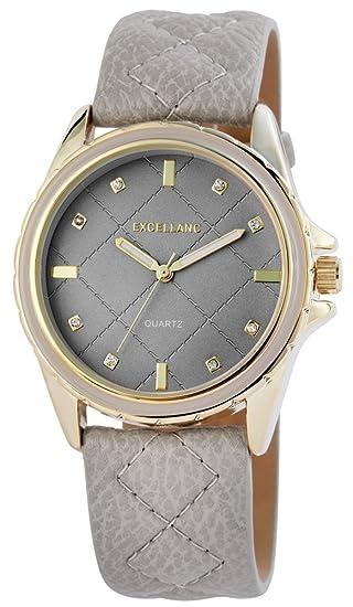 Reloj mujer gris oro STRASS piel mujer reloj de pulsera