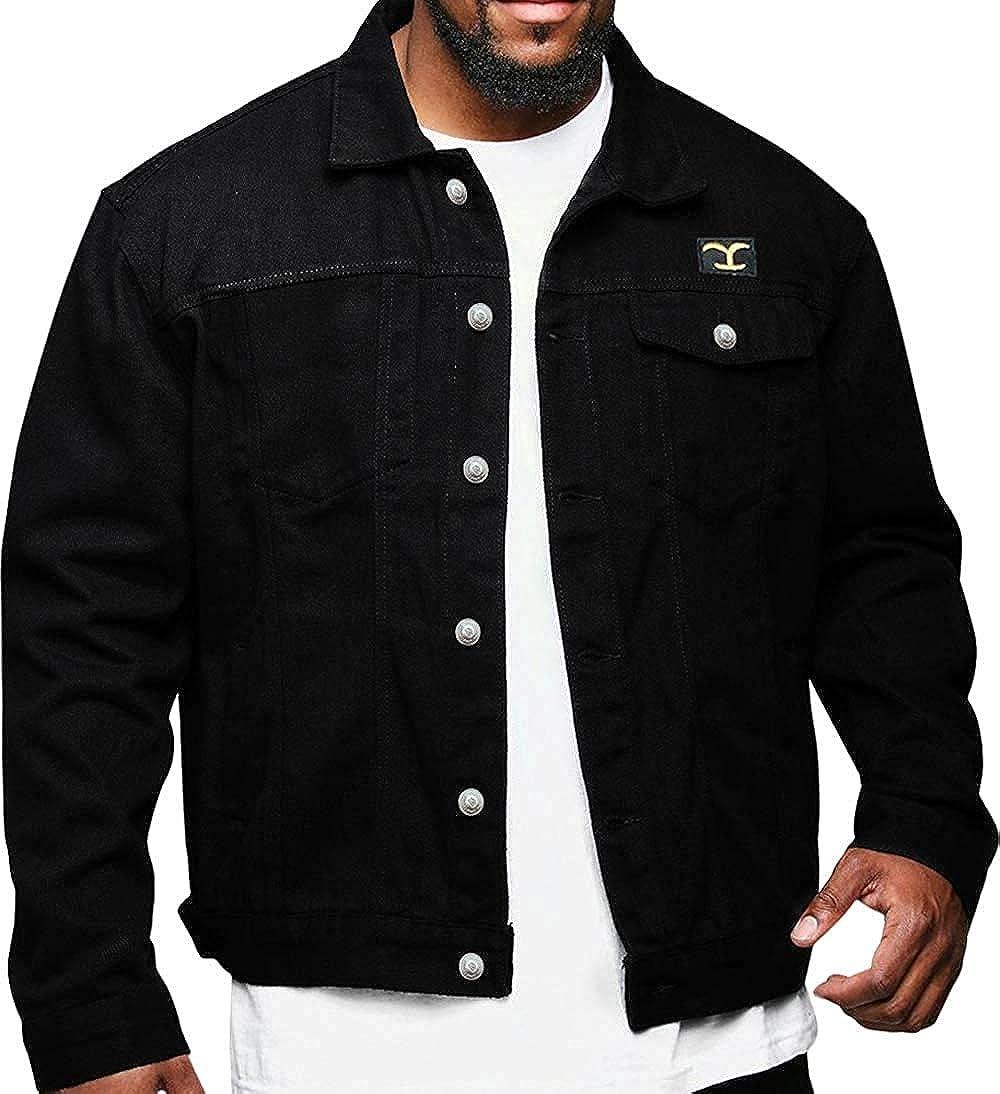 eCabinetos Mens Mens Yellowstone Cole Hauser Rip Wheeler Stylish Cowboy Black Cotton Leather Jacket