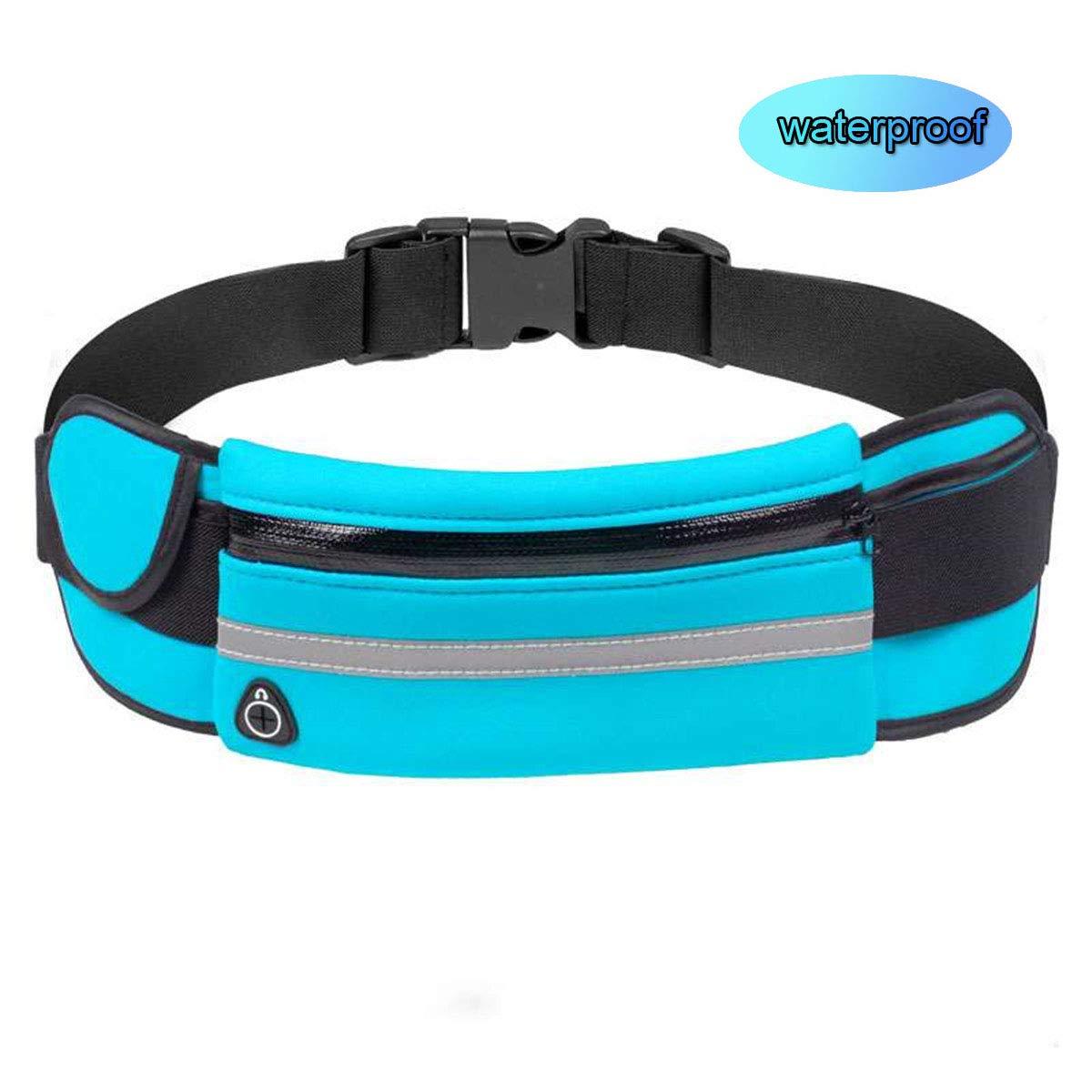 Night Running Safe Reflection Waist Bag Pocket for Men/Women Outdoor Sports Purse Belt Bag (fs-Black)