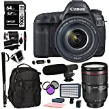 Canon EOS 5D Mark IV Full Frame Digital SLR Camera with EF 24-105mm f/4L IS II USM Lens Kit, Lexar Professional 1000x 64GB, Polaroid 160 LED Video Light, Microphone, Backpack and Accessory Bundle