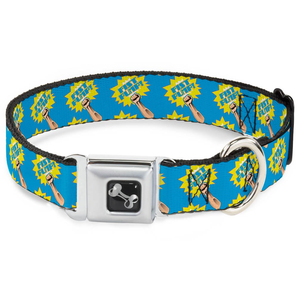 Buckle-Down Fist Pump Baby bluee Yellow Dog Collar Bone, Small 9-15