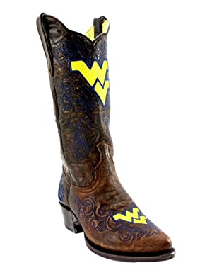 Gameday Boots Womens West Virginia Distressed 7 B Brass WV-L329-1