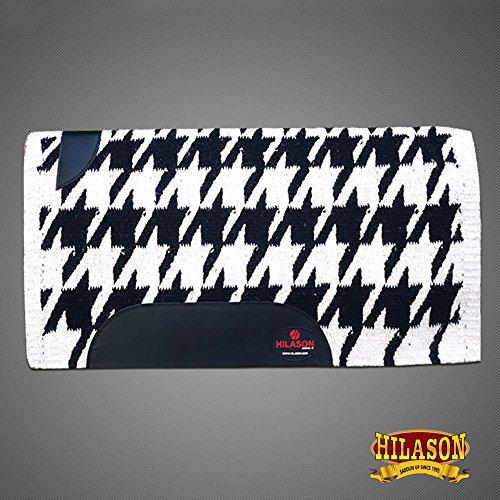 HILASON Show New Zealand Wool Saddle Blanket Western Black White