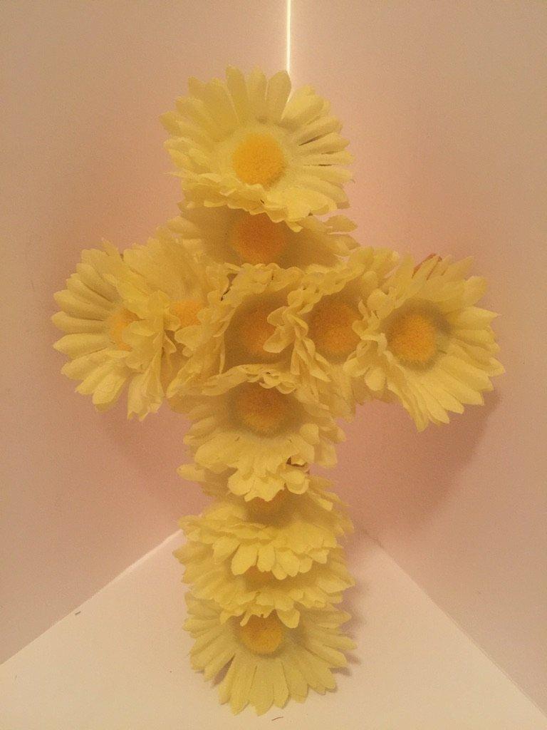 Small Cross Wall Decor - Yellow Daisies