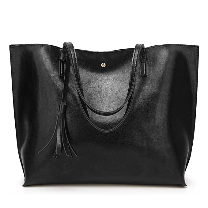Forestfish PU Leather Women Tote Bag Handbags Satchel Bags for Work Travel  (Black) 2b21d1b85d000