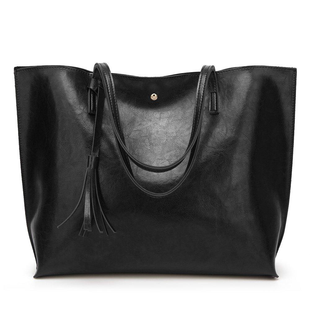 Forestfish Leather Women Tote Bag Handbags Satchel Bags for Work Travel(Black)