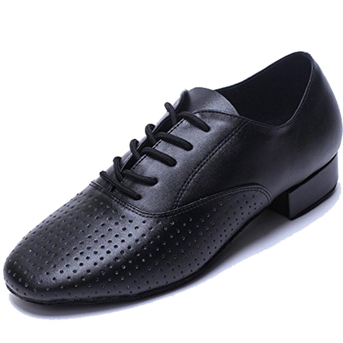 TDA Mens Poited Toe Black Leather Modern Salsa Tango Ballroom Latin Wedding Party Dance Shoes 9 M US