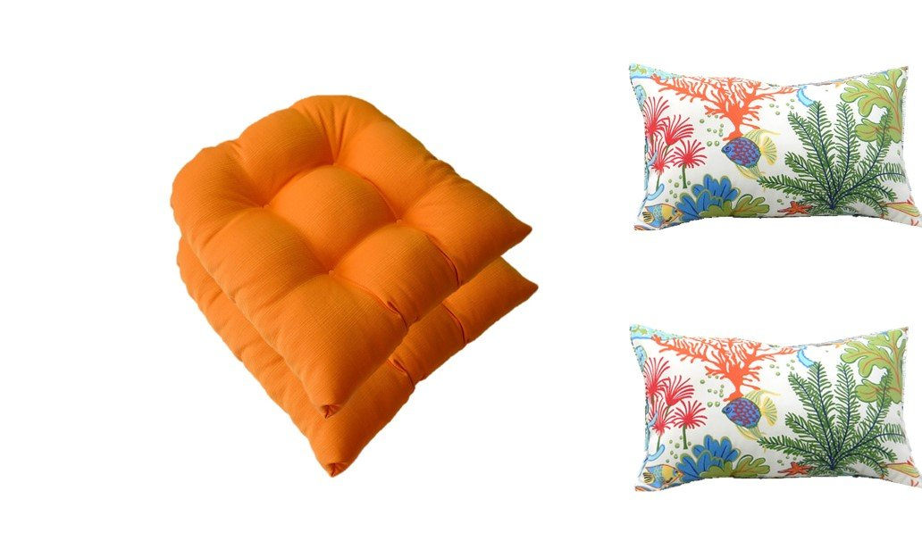 Set of 2 - Mojo Creamsicle Orange Universal Tufted U-shape Cushions for Wicker Chair Seats + 2 Free Splish Splash Tropical Fish Lumbar Pillows - Indoor / Outdoor