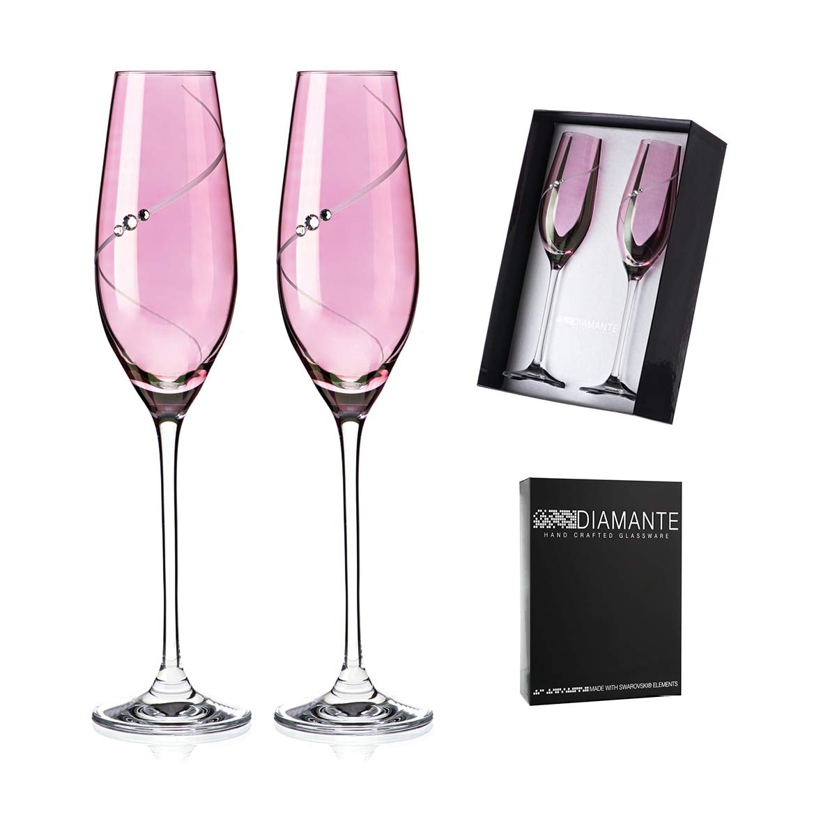 cb8eac939cd Pink Lustre Silhouette Champagne Flute Pair: Amazon.co.uk: Kitchen & Home