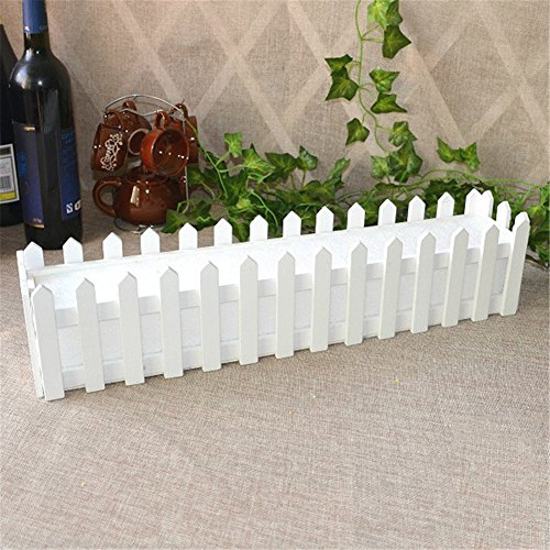 Mini White Picket Fence for Artificial Flowers Fake Rose, White Wood Fence with Foam Plastic for Artificial Plants Container Home Decor, -