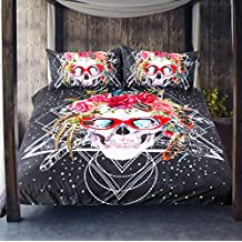 Sleepwish 3 Pieces Pop Art Skull Duvet Cover Set Cool Sugar Skull With Red Glasses Bedding Set Bed Cover No Comforter (King)