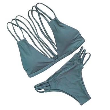 Bikini et Maillot de Bain Deux Piece Femmes,Bikini Motif Imprimé floral pour Femme,Triangle Sexy, Cou Licou, maillot de bain femme 2 pieces taille haute (L, Noir)