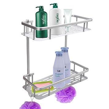 31.5cm 2 Layer Estante de baño de aluminio Estante de toalla Estante de almacenamiento de baño con gancho: Amazon.es: Hogar