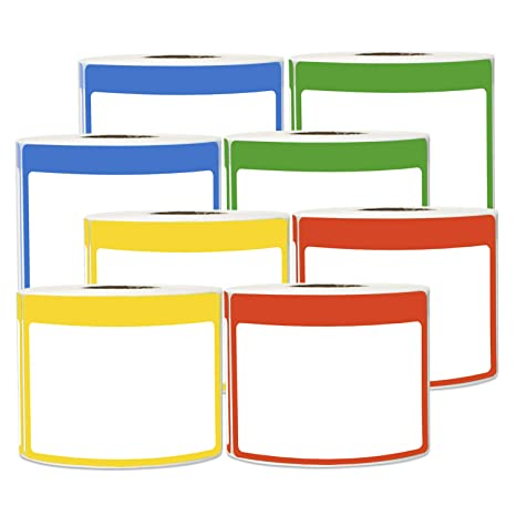2400 Labels - Name Tag Sticker Bundle Write-in with Colorful Border for  Visitor Badges (3 5 x 2 25 Inch, Blue/Green/Red/Yellow, 8 Rolls)