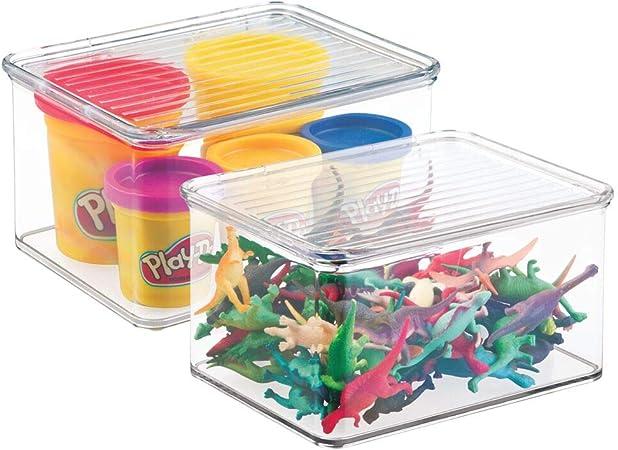 mDesign Juego de 2 organizadores de juguetes con tapa – Cajas de almacenaje apilables para guardar juguetes bajo la cama o en las estanterías – Juguetero de plástico con tapa – transparente: Amazon.es: Hogar