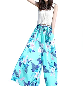 13f63bf328f QZUnique Women's Plus Size Chiffon Boho Floral Print Wide Leg Pants High  Elastic Waist Loose Pants