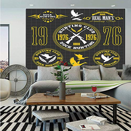 SoSung Hunting Decor Removable Wall Mural,Vintage Club Emblem from 1976 Hobby of Duck Hunting Themed Labels,Self-Adhesive Large Wallpaper for Home Decor 66x96 inches,Yellow Black White