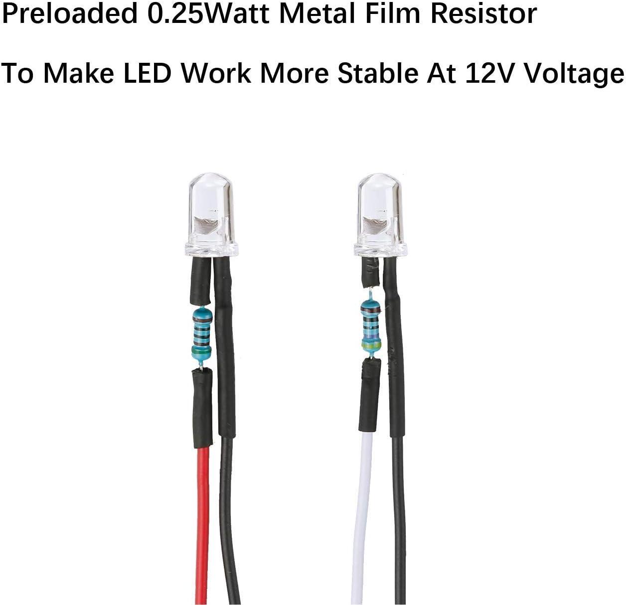 30pcs 12 volts 3mm UV LED lumi/ères /émettant des diodes pr/é-c/âbl/ées 7,9 pouces DC 12v Ultravoilet LED lentille claire petites lampes /à LED