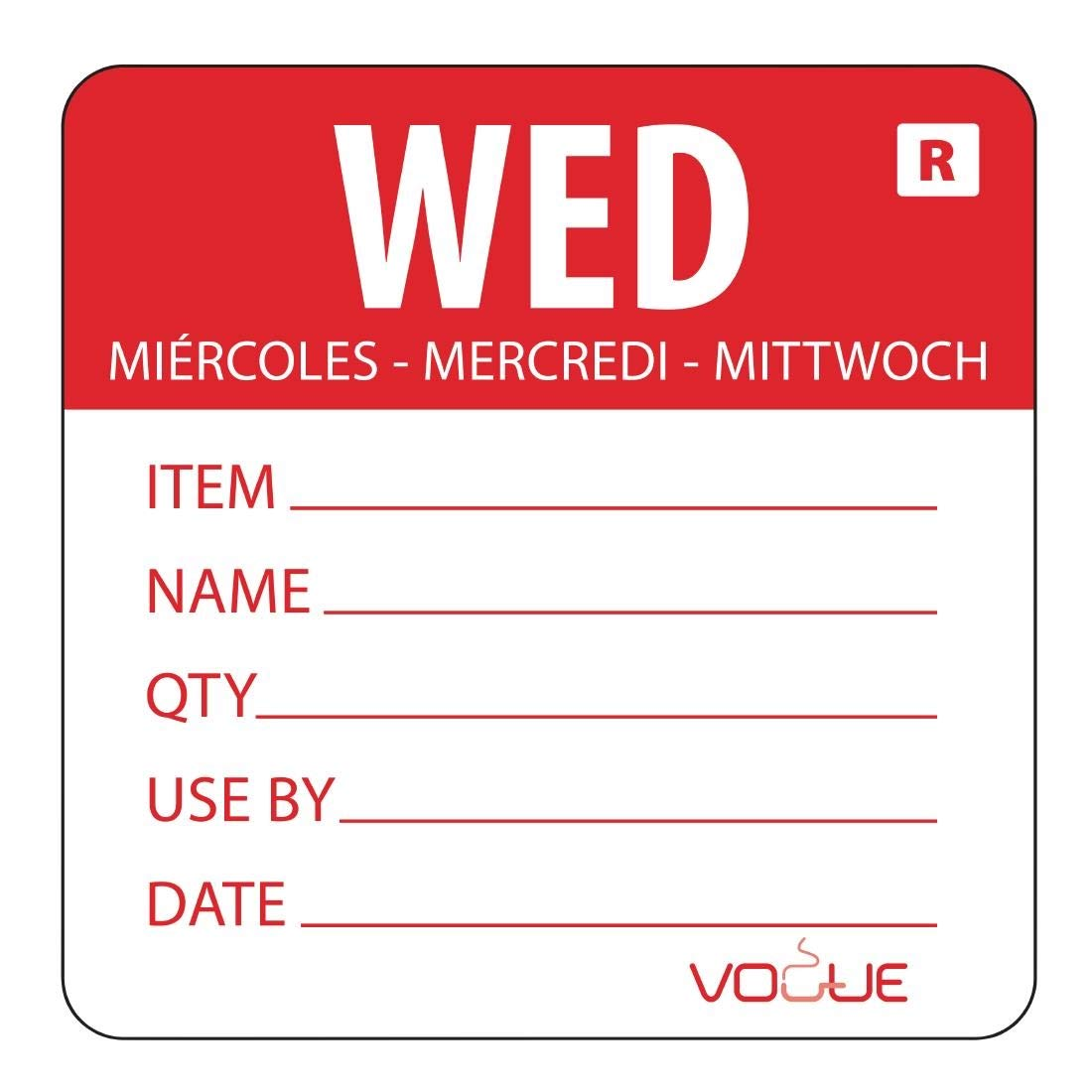 Day Of The Week Labels Removable Wednesday Wednesday - Red