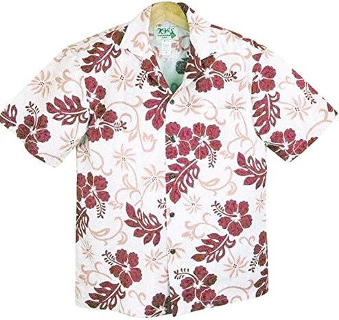 アロハシャツ メンズ ハワイ製 テンダーピンク/ディープレッドハイビスカス KY'S