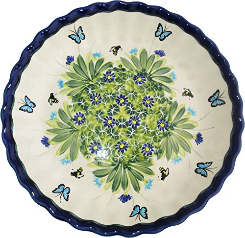 Boleslawiec Stoneware Polish Pottery Unikat Pie Plate or Quiche Baker, Evas Collection  inchSerenity inch
