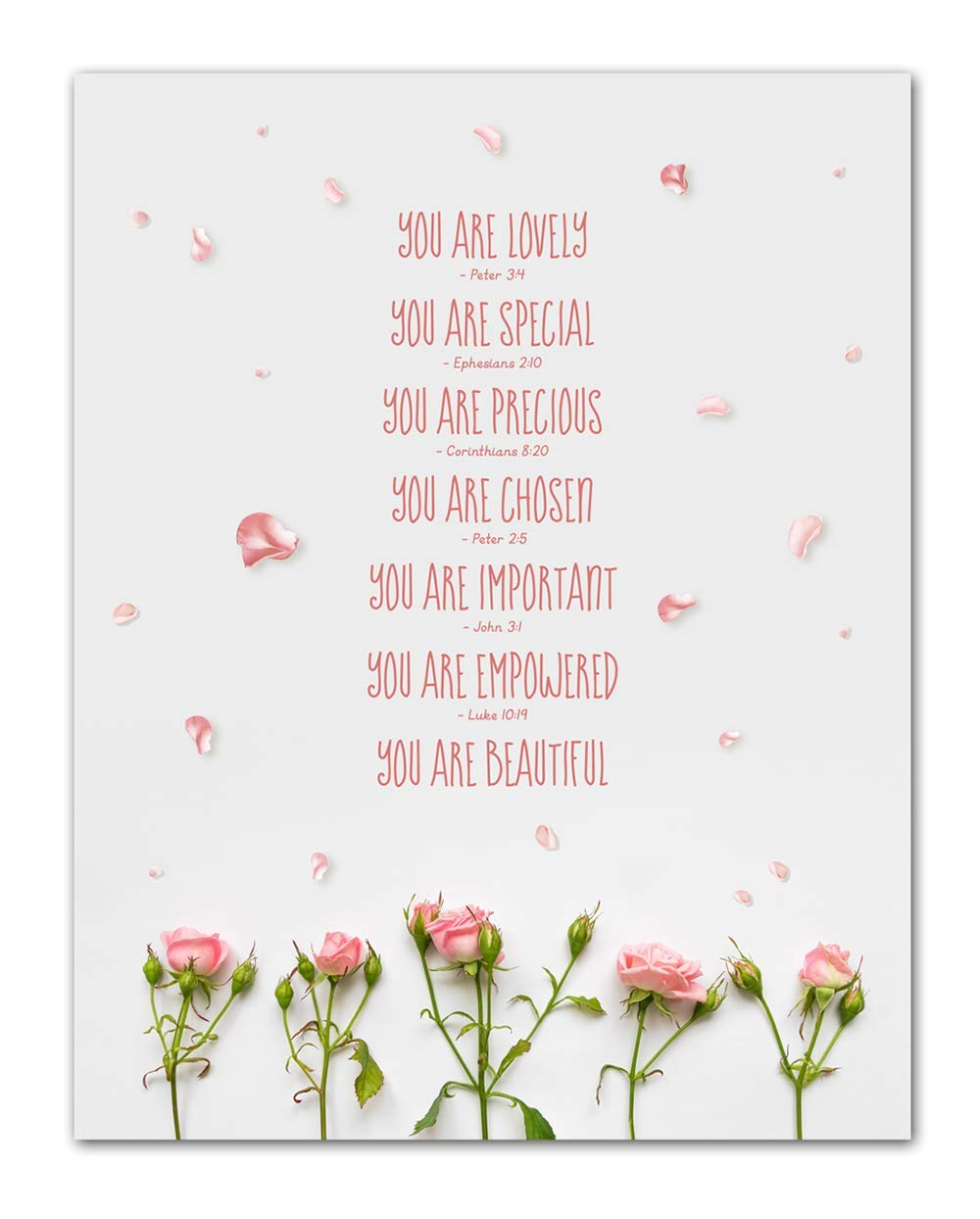 """""""You Are Lovely…"""" Bible Quote Wall Art - Unframed 11 x 14 Christian Inspirational Photographic Print - Makes a Great Gift for Family and Friends"""