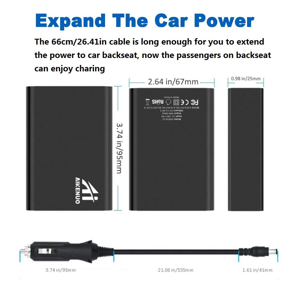 Quick Charge 3.0 USB Car Charger,96W//19.2A Aikenuo 6 Port Cars Adapter Fast Charging for QC Devices,Samsung Galaxy S10//S9//S8//Plus//Note,Compatible iPhone Xs//Max//XR//X//8,and More