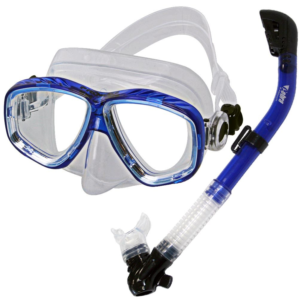 PROMATE Snorkeling Scuba Dive DRY Snorkel Mask Gear Set, Clear Blue by Promate
