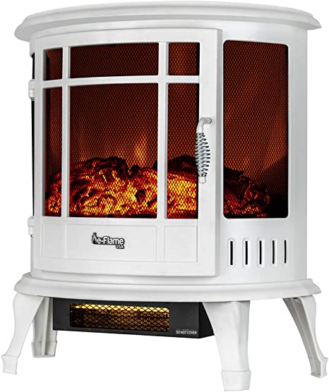 E Flame Usa Regal Freestanding Electric Fireplace Stove 3 D Log And Fire Effect White Kitchen Dining