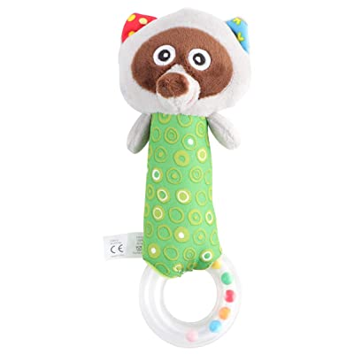 NUOBESTY Baby Rattles Plush Raccoons Animal Grab and Spin Hand Rattle Shaking Bell Soothing Toys Handbell Infant Gift Newborn Favors: Toys & Games