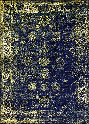 8 feet by 11 feet (8' x 11') Sofia Navy Blue Area Rug (Rug Floral Polypropylene)