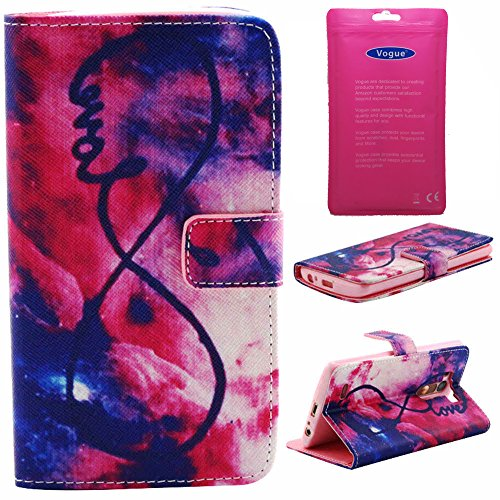 Vogue Shop Pu Leather Flip Wallet Case with Credit Card/ID Card Slot and Foldable Stand for LG G3 - Red Cloud and Love Pattern