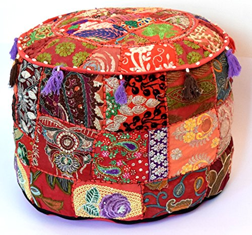 Americana decor's Bohemian Patchwork Ottoman Cover vintage Traditional indian pouf cover ''14x22'' cotton decorative chair ''Filler Not Inculded'' (Red) by Americana decor's