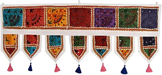 Lalhaveli Handmade Embroidered Tapestry Door Window Treatment Valance 39 x 16 Inch