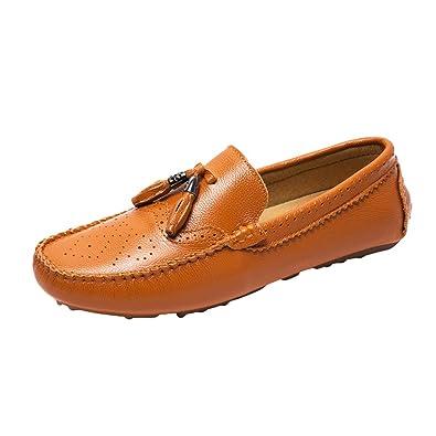 Anguang Herren Mode Quaste Loafers Slip On PU-Leder Mokassin Atmungsaktiv Fahrschuhe Schwarz NNURo