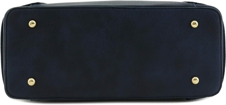 Two-Tone Hobo Sholuder Bag with Big Snap Hook Hardware Navy