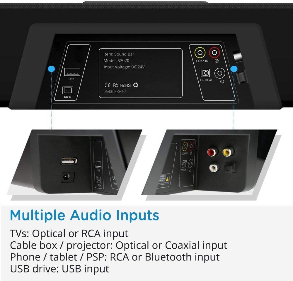 MEGACRA S7020 32-Inch 40-Watt Wired and Wireless Bluetooth TV Sound Bar Speaker