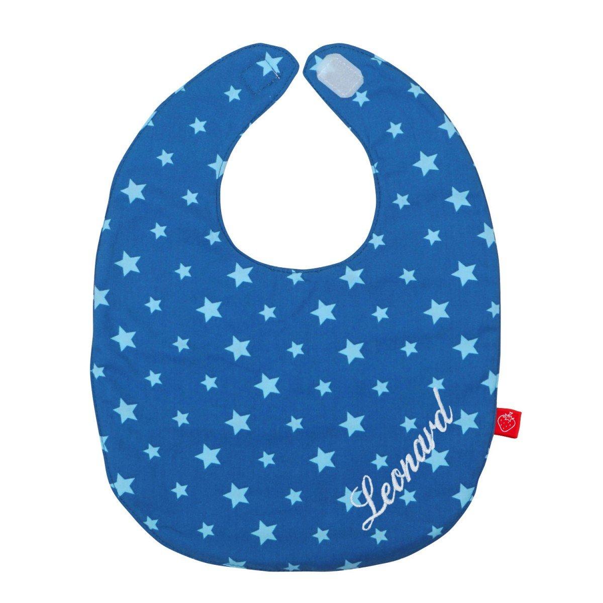 Lätzchen mit Namen Baby Sterne in blau (Geburtsgeschenk, Erstaustattung, personalisiert, individualisiert)