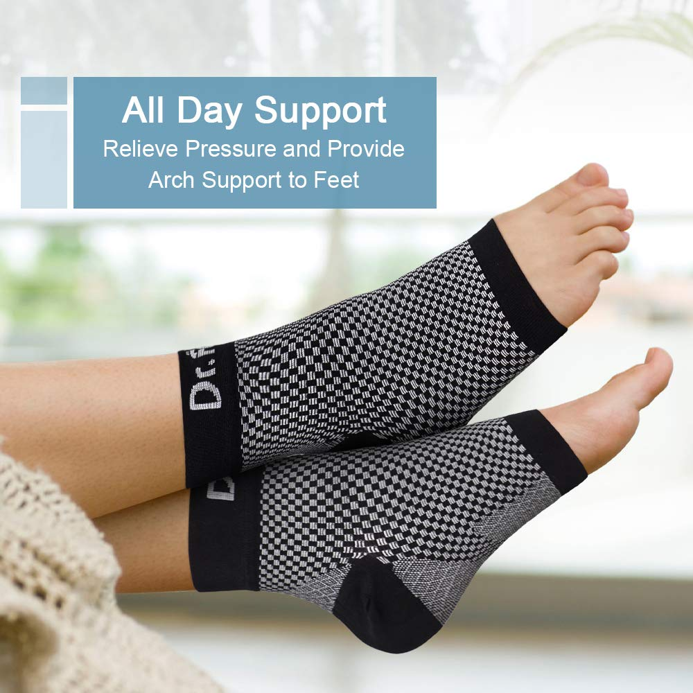 Dr. Foot\'s Compression Arch Support Sleeves for Men & Women, Plantar Fasciitis Socks with Comfort Gel Pad for Flat Feet, Foot and Heel Pain Relief (XL - Men\'s 12+)