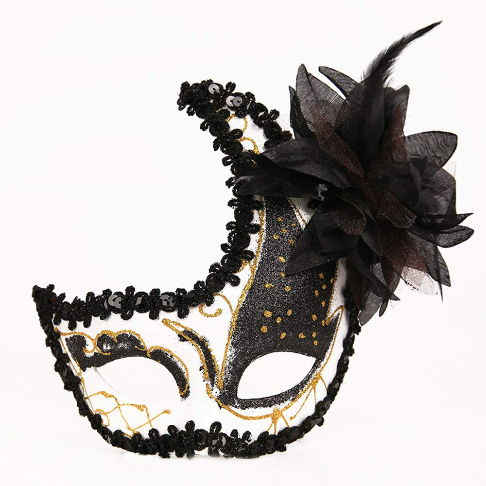 Masquerade Mask Cut Metal Masks Mardi Gras Halloween Masks for Women Makeup Party Halloween Cospay (Black)