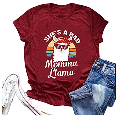 Shakumy She's A Bad Momma Llama T-Shirt Women Funny Cute Letter Printed Graphic Summer Short Sleeve Casual Tee Tops Blouses at Women's Clothing store [5Bkhe0301972]
