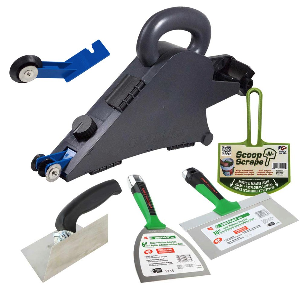 Delko Drywall Taping Banjo Tool with Sheetrock Matrix Knives, Adjustable Corner Trowel and Bucket Scoop by Delko / USG Sheetrock