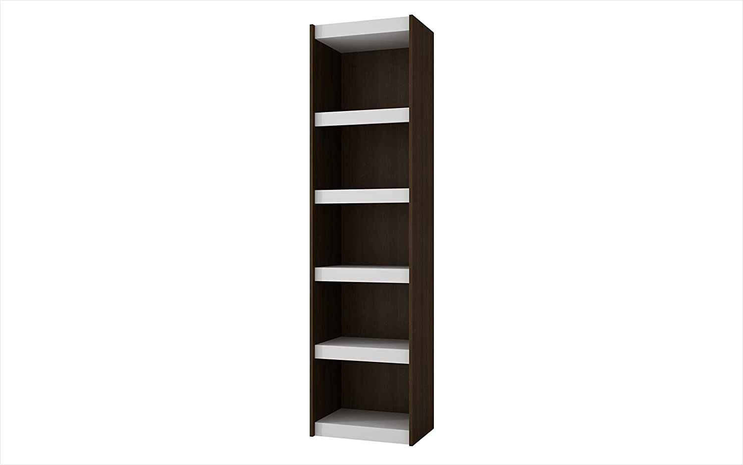 Manhattan Comfort Valuable Parana Modern Stylish Home or Office Bookcase 2.0 With 5 Shelves - White Shelves & Tobacco
