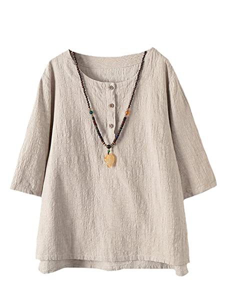 8b76e20cd351b Vogstyle Women s New Cotton Linen Tunic Tee Shirt Jacquard Tops Apricot M