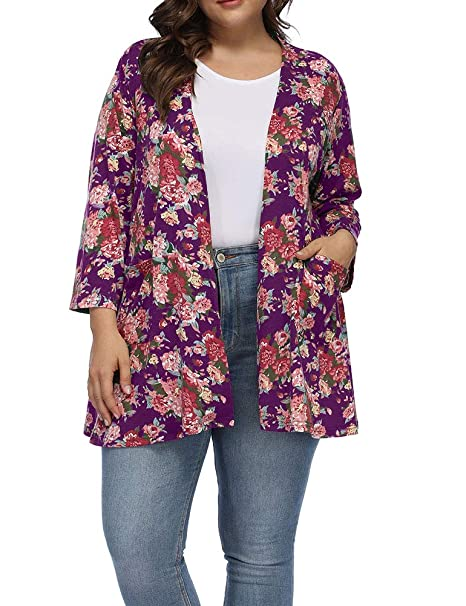 240008ea8ce Allegrace Women s Plus Size Floral Printing Cardigans Lightweight Pockets  Cardigan at Amazon Women s Clothing store