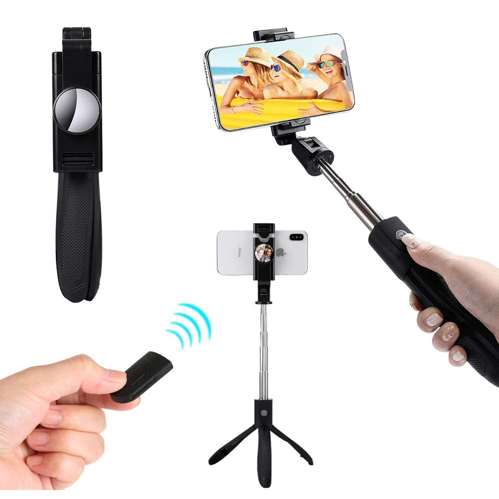 [Upgraded]Bluetooth Selfie Stick Tripod Extendable Selfie Stick with Mirror and Wireless Remote and Tripod Stand Selfie Stick for iPhone X/iPhone 8/8 Plus/iPhone 7/iPhone 7 Plus/Huawei/Samsung/Google SelfieCom K06