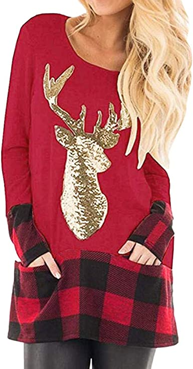 Tefamore Camiseta de Mujer Navidad Blusa de Túnica Manga Larga Reno Empalme a Cuadros Camisa Patchwork Blusas Suelto Tops Casual Pullover Mujer Sweatshirt: Amazon.es: Ropa y accesorios