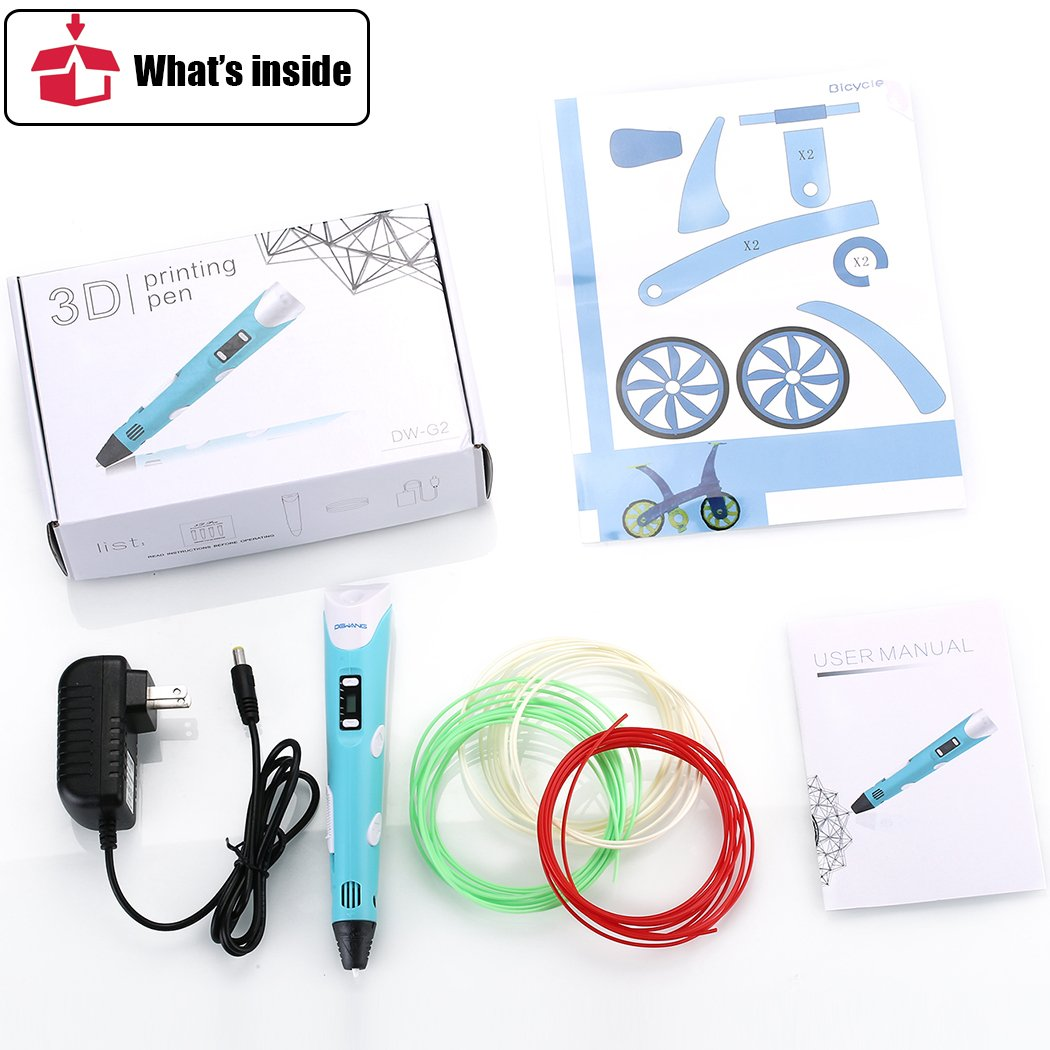 3D Pen RENY 3D Printer Pen Arts Pen Making Doodle Arts & Crafts - Unleash Children's Creativity, Develop Spatial Thinking ( Blue ) With Free Multi-Color 20 Meters PLA Filament For Kids Hobby Gift by DeWang (Image #7)